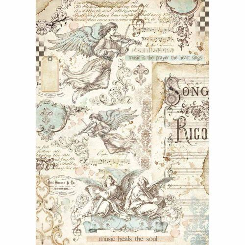 Stamperia Rice Paper A4 Angels & Music