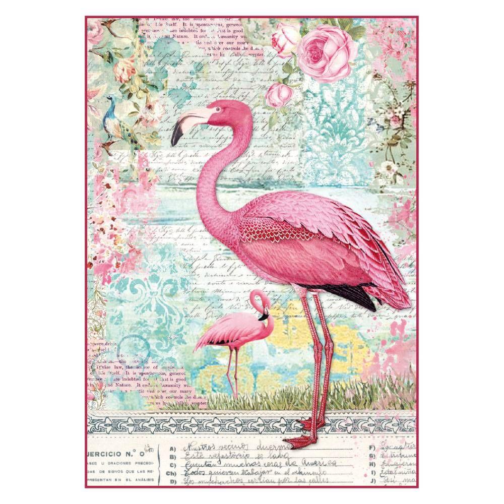 Stamperia Rice Paper A4 Pink Flamingo