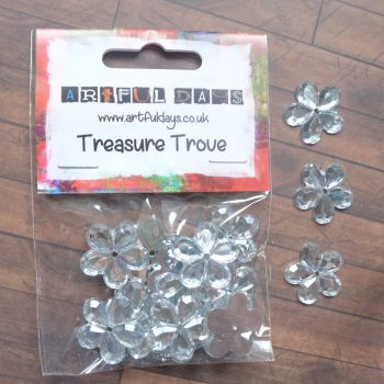 Clear Flower Gems - 2cm - Approx 20