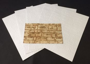 Embossed White Card 5 Sheets of A4 - Stone Wall