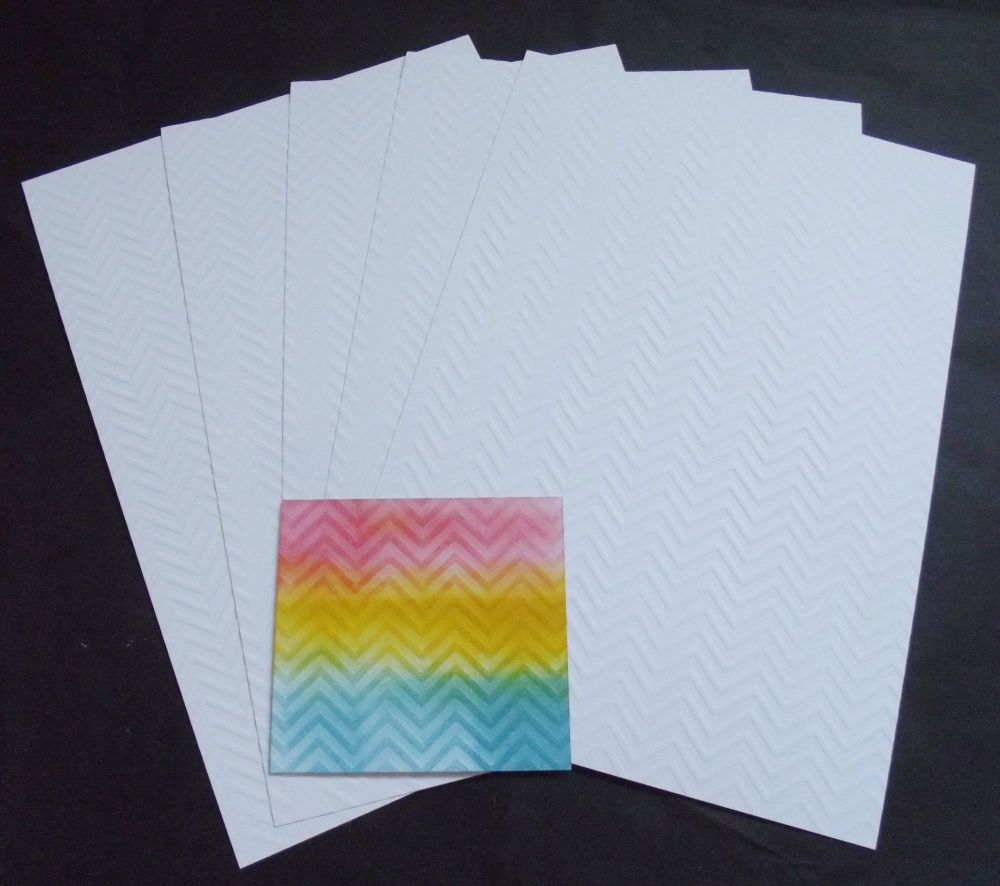 Embossed White Card 5 Sheets of A4 - Chevrons