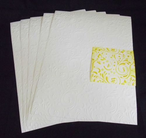 Embossed White Card 5 Sheets of A4 - Flourish & Butterflies