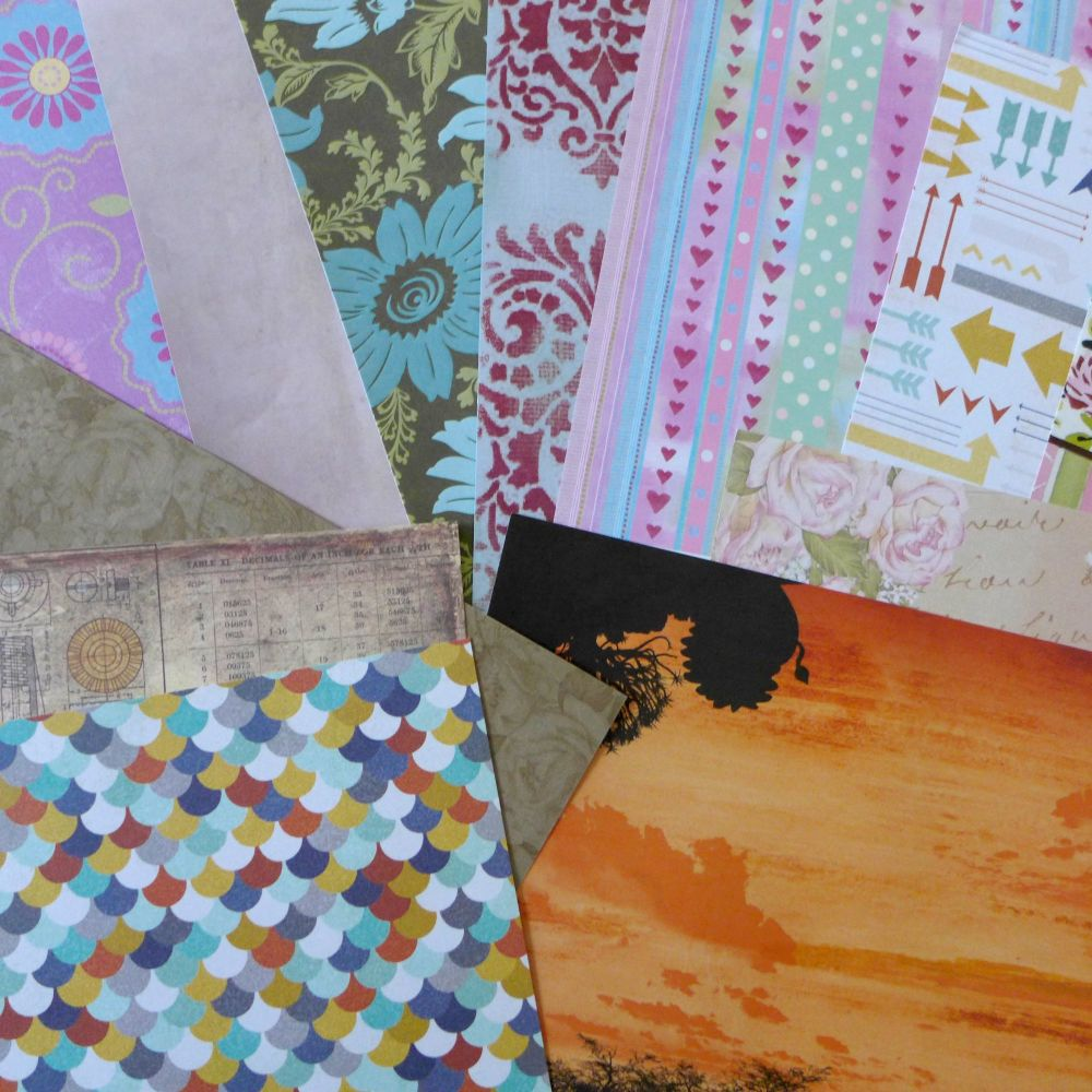 12 x 12 Scrapbooking Papers - Random Assortment of 10 Pages