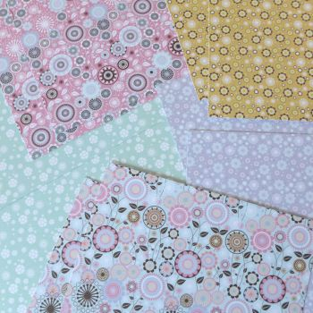 A4 Sheets of Card Floral - Pack of 10