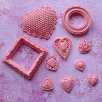 Valentines Pink Resin Hearts & Frames - Limited Edition