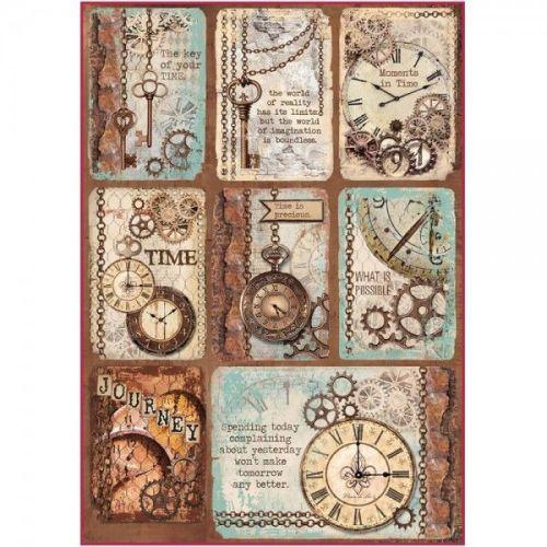 Stamperia Rice Paper A4 Clockwise Clock & Keys
