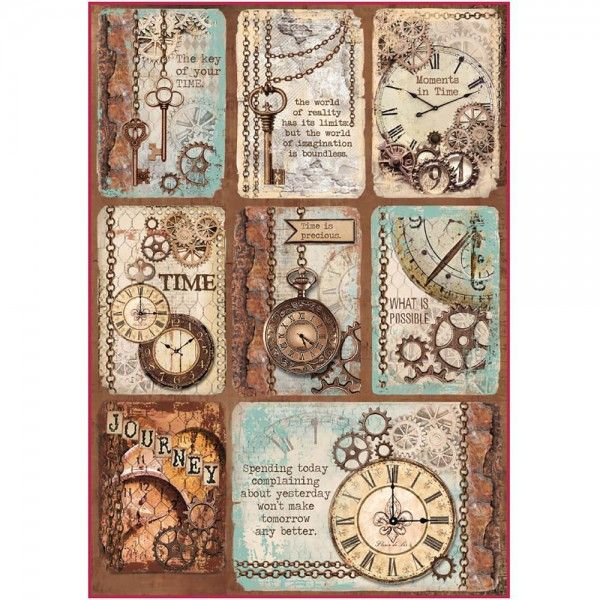 Stamperia Rice Paper A4 Clockwise Clock & Keys
