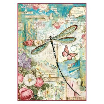 Stamperia Rice Paper A4 Wonderland Dragonfly