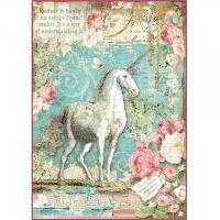 Stamperia Rice Paper A4 Wonderland Unicorn