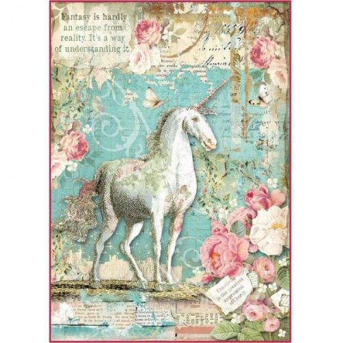 Stamperia Rice Paper A4 Wonderland Unicorn