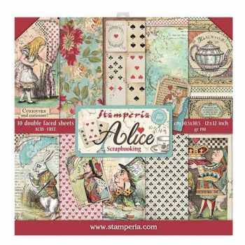 "Stamperia Alice 12 x 12"" Double sided Scrapbooking Papers"