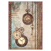 Stamperia Clockwise A4 Rice Paper Clock & Keys DFSA4288