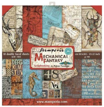 Stamperia Mechanical Fantasy 12x12 Inch Paper Pack By Antonis Tzanidakis