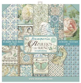 "Stamperia Azulejos  12 x 12"" Double sided Scrapbooking Papers"