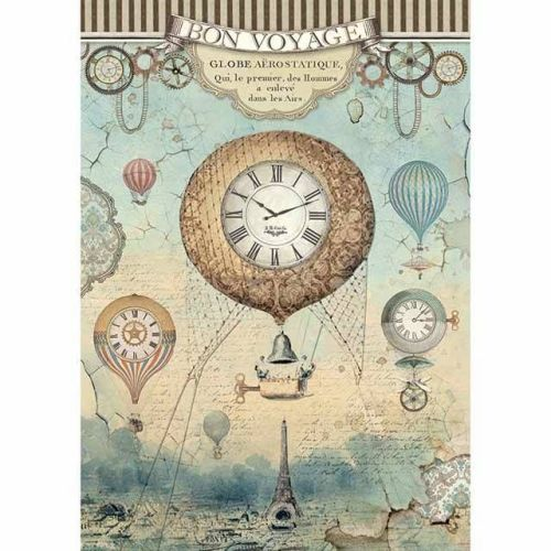 Stamperia Rice Paper A4 Voyages Fantastiques Balloon (DFSA4370)