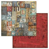 Stamperia Mechanical Fantasy Alphabet 12x12 Inch Paper Sheet