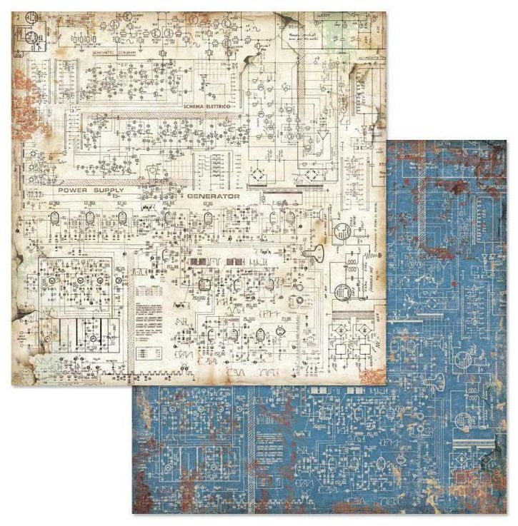 Stamperia Mechanical Fantasy Circuit 12x12 Inch Paper Sheet