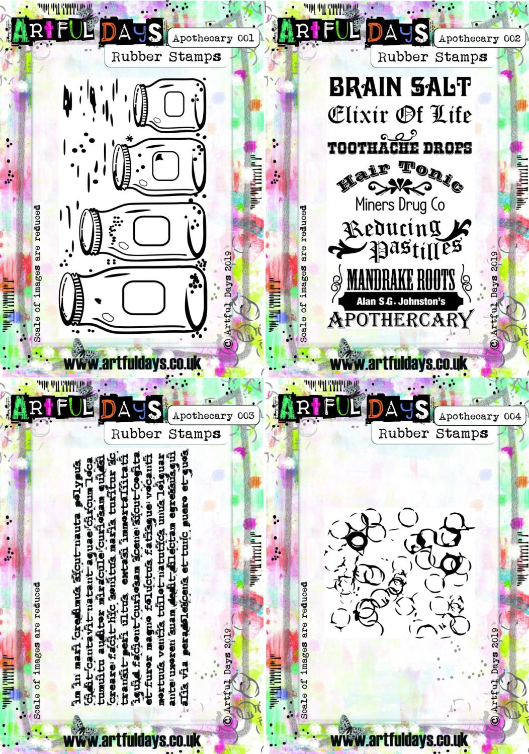 Artful Days Apothecary Rubber Stamp Set