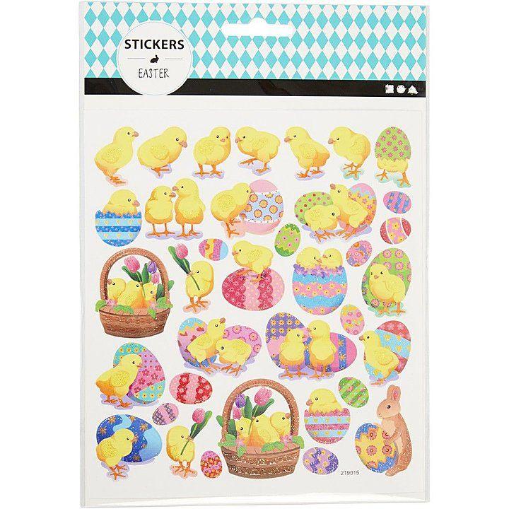 Easter Chick & Egg Glitter Stickers