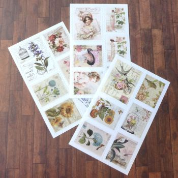 Vintage Floral Stamp Stickers (PA011)