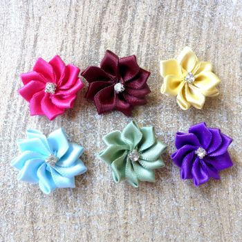 Fabric Satin Flower with Diamante - Assorted Colours