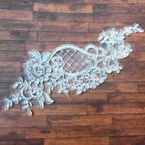 Lace Applique Flower - Silver Gray