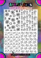 Artful Days Set of 4 Rubber Background Stamps