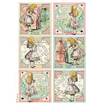 Stamperia Alice Cards A4  Rice Paper  (DFSA4382)