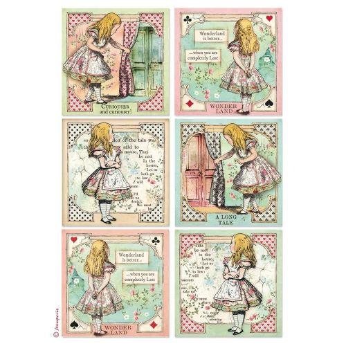 Stamperia Rice Paper A4 Alice Cards (DFSA4382)