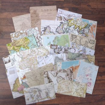 Vintage Map Stickers Set of 24 (PA020)