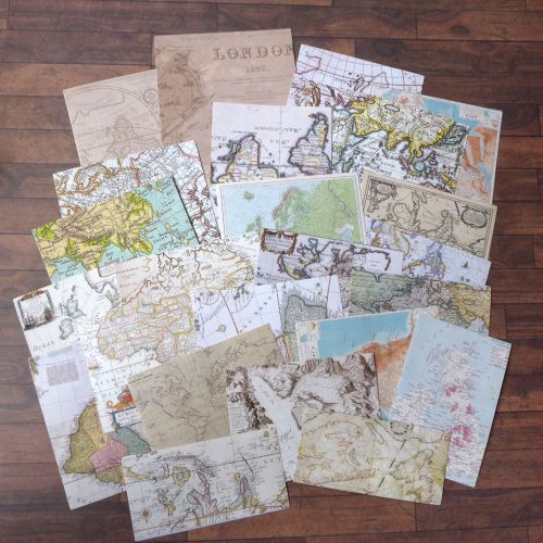 Vintage Map Stickers Set of 24