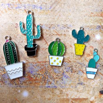 Coloured Cactus Charms (C022)