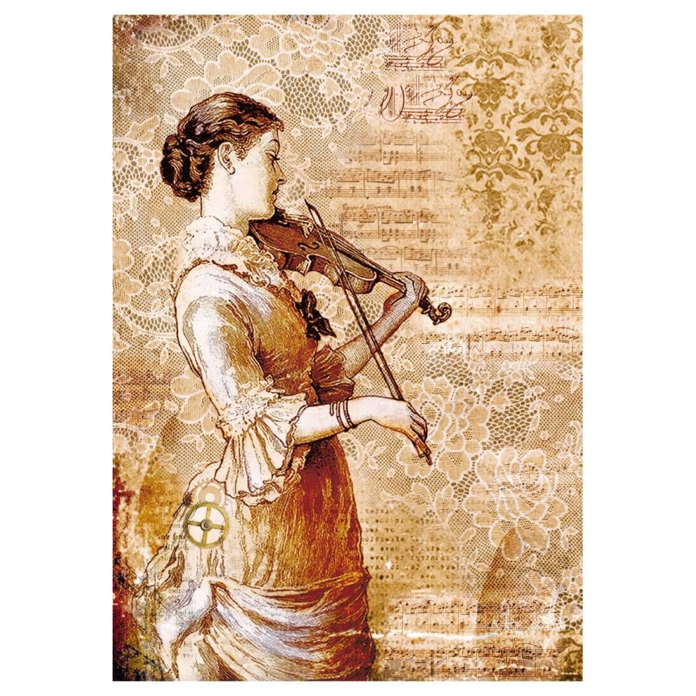 Stamperia Rice Paper A4 Steampunk Woman with Violin (DFSA4269)