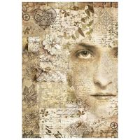 Stamperia Rice Paper A4 Old Lace Face (DFSA4266)