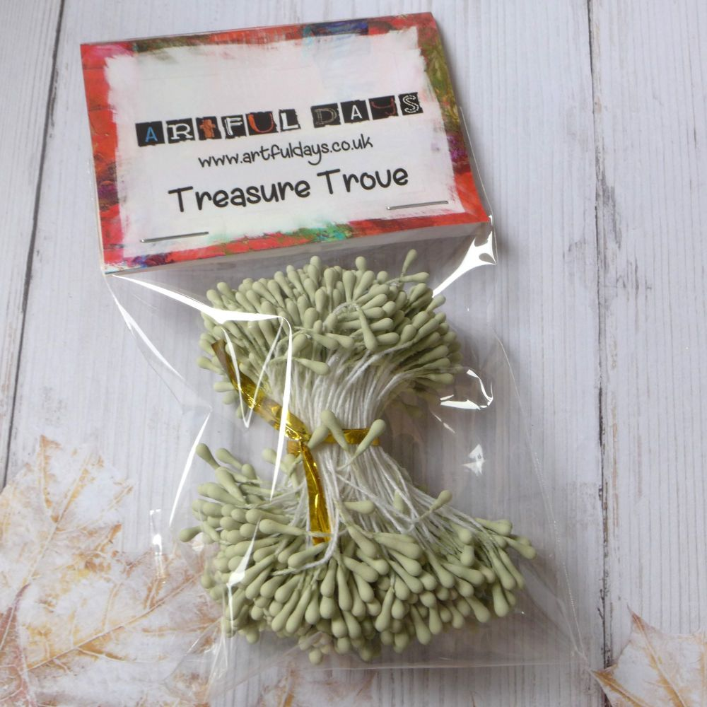 Stamens For Flower Centers Vintage Matt Pale Green