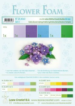 Leane Creatief Flower Foam A4 - Set 2 Blue-Violet