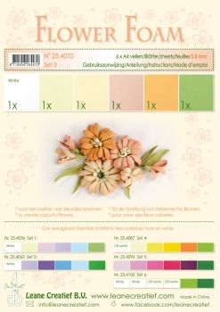 Leane Creatief Flower Foam A4 - Set 3 Salmon