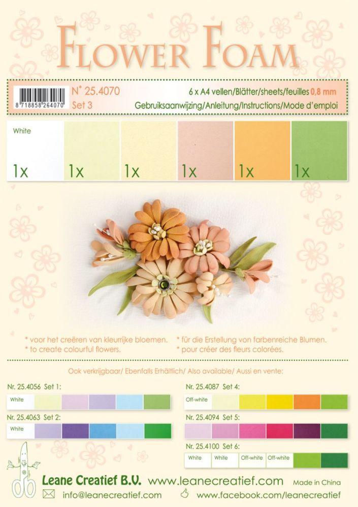 Leane Creatief Flower Foam A4 Set 3 Salmon