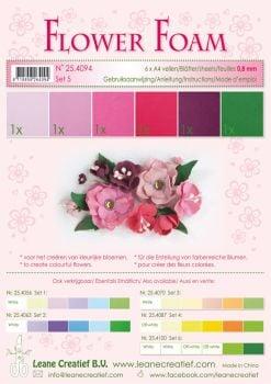 Leane Creatief Flower Foam A4 - Set 5 Red-Pink