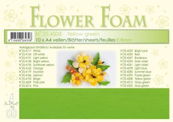 Leane Creatief Flower Foam Sheets 10 Pack A4  - Yellow Green