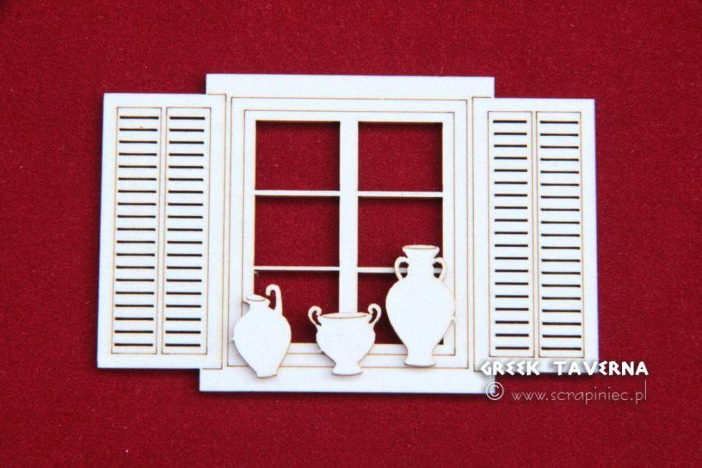 Greek Taverna - Window and Pots (2991)