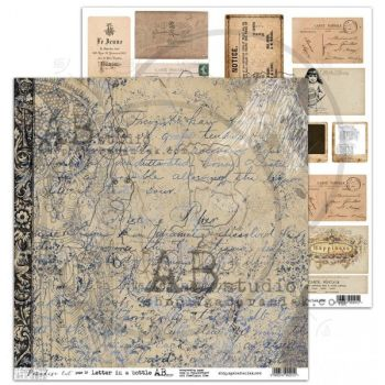 """""""Paradise Lost"""" Scrapbooking Paper 12 x 12"""" Letter In a Bottle (11/12)"""