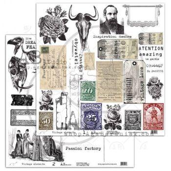 """Elements - Scrapbooking Paper 12 x 12"""" - Vintage Elements (1/2)"""