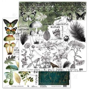 """Elements - Scrapbooking Paper 12 x 12"""" - Vintage Elements (3/4)"""