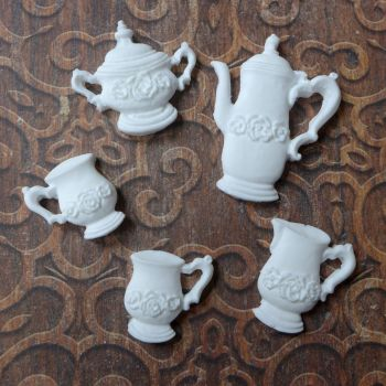 White Resin Tea Pot Set (R7029)
