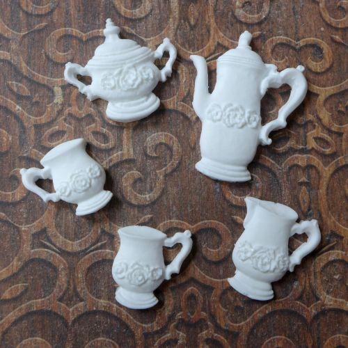 White Resin Tea Pot Set (R7043)