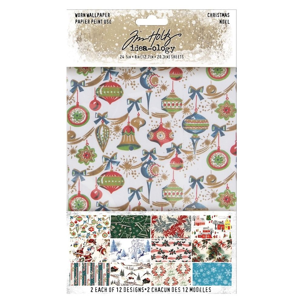 Idea-ology Tim Holtz Worn Wallpaper 5x8 Inch Christmas (TH94011)