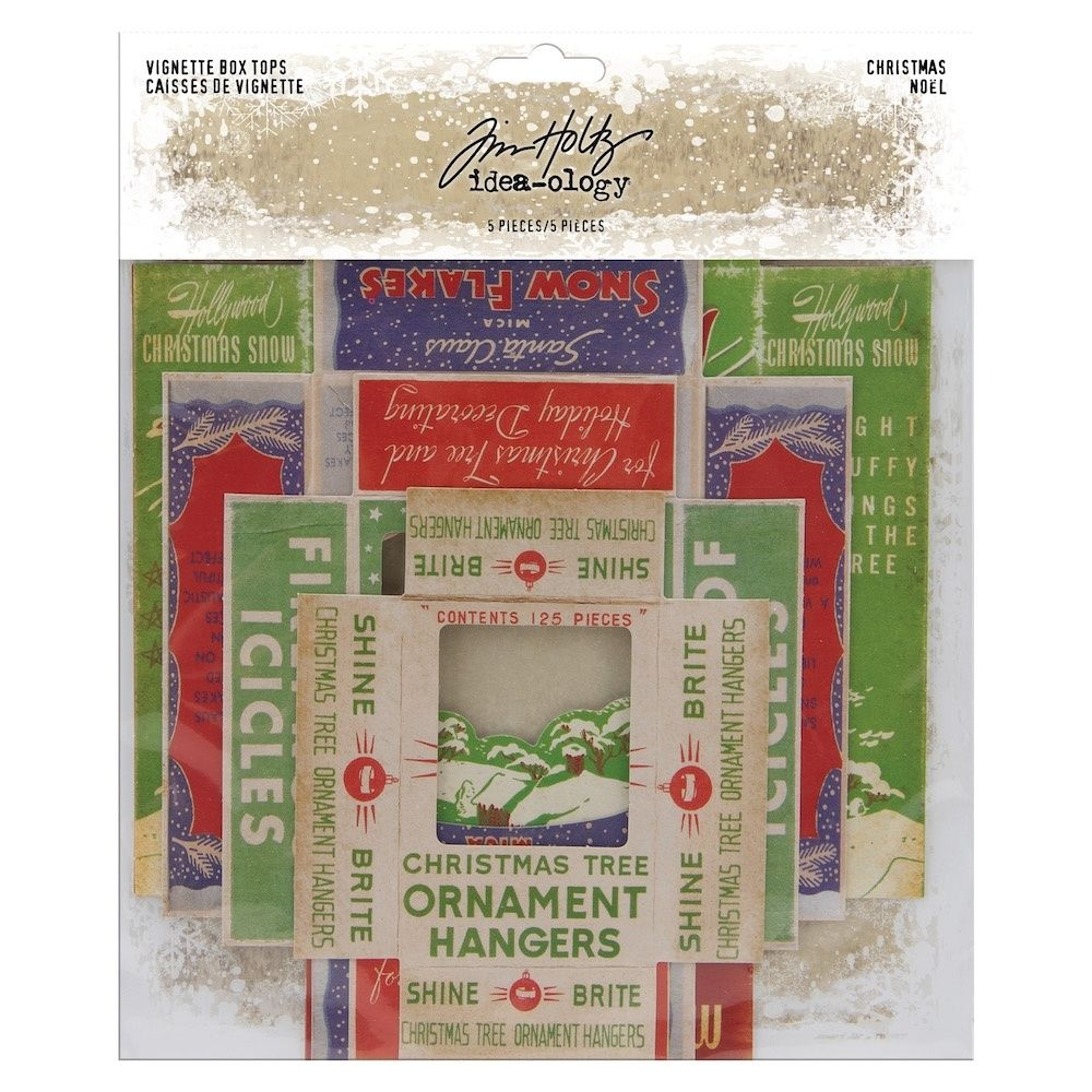 Idea-ology Tim Holtz Vignette Box Tops Christmas (5pcs) (TH94000)