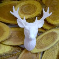 White Resin Stag Head - Christmas