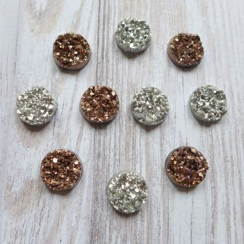 Bling - Sparkle Cabochons Silver & Antique Rose Gold (CA3030)